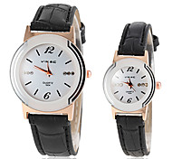 Couple's Round Dial PU Band Quartz Wristwatch (Assorted Colors)