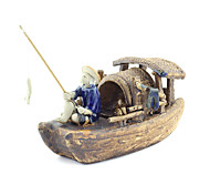 Guyun Medium Ceramic Ship with Fishman Decoration for Aquarium