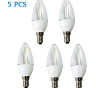 H+LUX™ Lâmpada Vela Decorativa E14 5 W 350 LM 2700K K Branco Quente 24 SMD 3022 5 pçs AC 220-240 V C