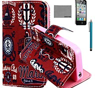 COCO FUN® UK Icon Pattern PU Leather Case with Screen Protector and Stylus for iPhone 4/4S