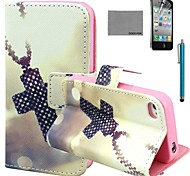 COCO FUN® Cross Necklace Pattern PU Leather Case with Screen Protector and Stylus for iPhone 4/4S