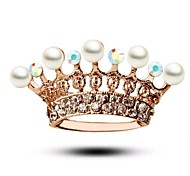Small Pearl Full Diamond Crown Princess Brooch
