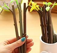 Leaves Dustproof Plug Black Ink Branch Gel Pen