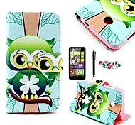 KARZEA™Green Owl Pattern PU Leather Case with Screen Protector and Stylus+Dust Plug for Nokia Lumia N630