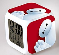 Big Hero 6 Baymax 7 Color Change Digital Alarm Clock LED Thermometer Night Colorful Glowing Toys