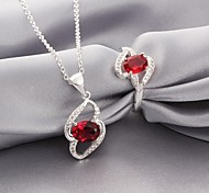 Plated Silver Fashion Red Zircon Necklace Ring jewelry set