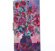 Fashion Oil Painting Potted Flowers PU Full Body Cases with Stand And Card Slot for Huawei P7