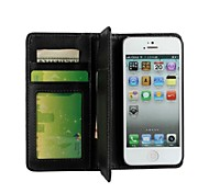Multi-function Wallet Style Solid Color PU Leather Full Body Protection Cover with Stand and Card Slot for iPhone 5/5S