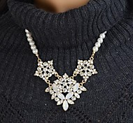 Fashion Elegant Women Clear Rhinestone Statement Necklace