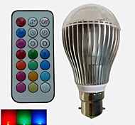 1pcs SchöneColors B22 9 W 3PCS High Power LED Dimmable/Remote-Controlled/Decorative Globe RGB LED Bulbs AC 85-265 V