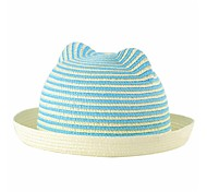 Women's Stripes Ears Rolled Brim Domed Straw Hat (More Colors)