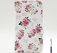 Charming Flowers Pattern PU Leather Case Cover with A Touch Pen ,Stand and Card Holder for LG G3