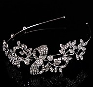Bridal Baroque Crown Silver Tiara Queen Flower Leaf Crystal/Rhinestone/Diamond Hairclips Headpiece For Wedding/Party