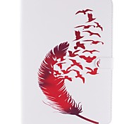 Wkae® Red Feather and Birds Pattern PU Leather Case with Stand for iPad Air/iPad 5