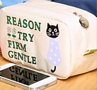 Cute Black Cat Fabric High Capacity Pencil Bag Random Color