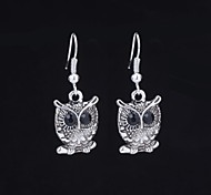 Cute Owl Silver Alloy Earrings (1 Pair)