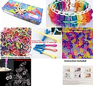 Rainbow Color Loom Kit with UV Color Changing Pony Beads for DIY Bracelet 50 Beads,600 Bands