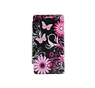 Pink Butterfly And Flowers Pattern Remove Rear Lid PU Case with Stand for Samsung Galaxy S2 I9100