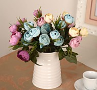 """10.6""""L Set of 1 Snowy 10 Heads Roses Silk Cloth Flowers"""