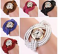 vrouwen ronde wijzerplaat tweelaags band kwarts analoge mode armband horloge (assorti kleur)