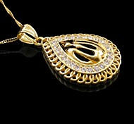 18K Real Gold Plated Allah Muslim Drop Pendant Necklace