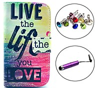 Live Life You Love Pattern PU Leather Case with Stylus and Dust Plug for Samsung Galaxy Trend Lite S7390/S7392