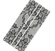 1PC 3D Full Fashion Black lace Nail Art Stickers Nail Wraps Nail Decals Flower Nail Polish Decorations