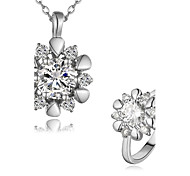 Plated Platinum Fashion Jewelry Sets Necklace Ring