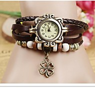 Women's Quartz Analog Bohemian Bracelet Watch Lucky Clover(Color Random)