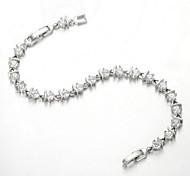 Eternity Bracelet 18K White Gold Plated Rhinestone Link Use SWA Elements Crystal Chain Bracelet