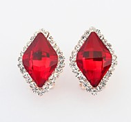 Women's Fashion Rhombus Glass Bead Rhinestone Pave Clip On Stud Earrings