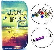 Here Comess the Sun Pattern PU Leather Case with Stylus and Dust Plug for Samsung Galaxy Trend Lite S7390/S7392