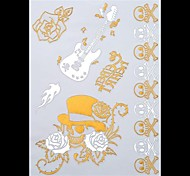 1PC Gold Tattoos Rose Skull Temporary Tattoos Flash Tattoos Metallic Tattoos Wedding Party Tattoos(25*15.5cm)