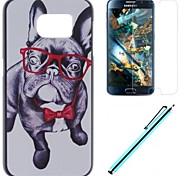 usar óculos do caso duro pc cão com filme e caneta capacitância para Samsung Galaxy S6 G920