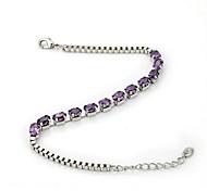 18K White Gold Plated Shining Purple Colour Austria Crystal Bangle Simulated Diamond Bracelet