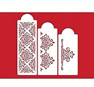 quatre c fleurs pochoir pour la décoration de gâteaux décoration latérale couleur blanche, 3 pcs / set