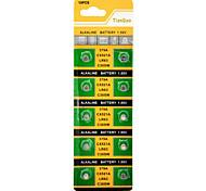 AG0 / LR63 1.55V Alkaline Cell Button Batteries (10-Piece Pack)