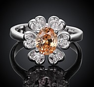 Plated Silver Fashion Flowers Women's Ring
