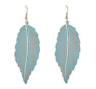 Painted Leaf Drop Earrings