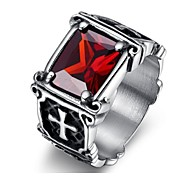 Classic titanium steel Men's As Picture  Rings(balck,red)(1 Pc)