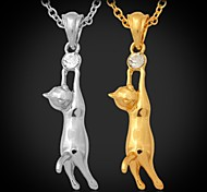 U7® Hot Lovely Girl's 18K Gold Plated Austrian Rhinestone Cute Kitty Cat Necklace Pendant Jewelry for Women High Quality