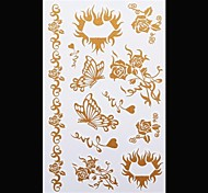 1PC Gold Tattoos Butterfly Rose Temporary Tattoos Flash Tattoos Metallic Tattoos Wedding Party Tattoos(20*10cm)
