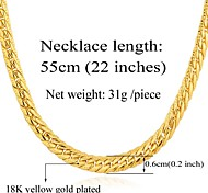 U7® Men's Chunky Necklace 3 Colors 18K Gold Plated Wheat Classical Chain Necklace Jewelry Unisex High Quality 22''