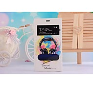 Double Window Fashion Headset Pattern PU Leather Full Body Case with Stand Slot for  Xiaomi Mi3