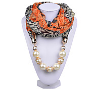 D Exceed   Ladies Necklace Scarfs Fashion Accessories Color Patchwork Chiffon Wraps Pearl Beads Pendant