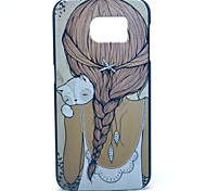 Girl and Cat Pattern Hard Case Cover for Samsung Galaxy S6