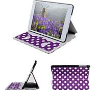 Auto sospensione/riattivazione - Pois - Mela iPad mini/mini iPad 2/mini iPad 3 - DI Cuoio - Rosso/Nero/Bianco/Blu/Rosa/Porpora