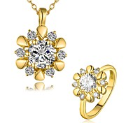 Gold Plated Fashion Jewelry Sets Necklace Ring