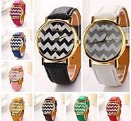 Women Wave Stripe Pu Leather Diamond Brand Luxury Lady Bracket Dress Wristwatch (Assorted Colors)C&D-193