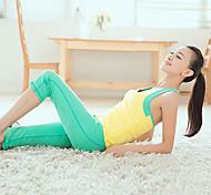 Women's Sports Sleeveless Yellow Yoga Training Top And Cyan Pants